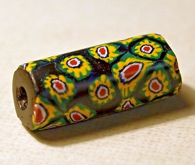 Antique Venetian Black Millefiori Italian Glass Cane Bead - African Trade Bead