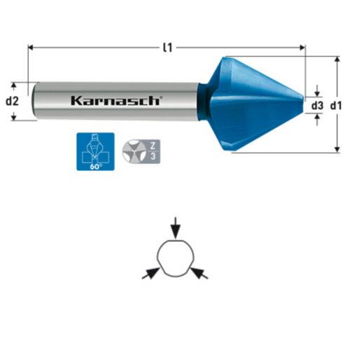 DIN334 Ø=6,3-31,5mm Senker Entgrater Karnasch Kegelsenker 60° Edelstahl Stahl