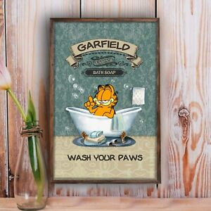 Garfield Bath Soap Wash Your Paws Bathroom Poster Restroom Home Decor