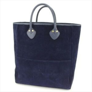 Gucci-Tote-bag-Navy-Gold-Suede-Leather-Woman-unisex-Authentic-Used-L2569
