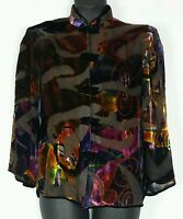 Aris.a Velvet Silk Asian Burnout Purple Orange Black Shirt Jacket Sz Xl -