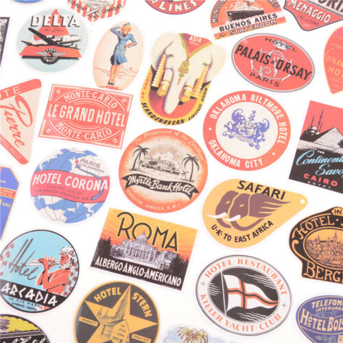 55pcs Retro Style Travel Hotel Logo Stickers  Luggage Waterproof Sticker Toy  TE