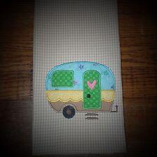 Cute Camper Applique Kitchen Towel~Pink Heart~Teal~Green~Yellow~Handmade~