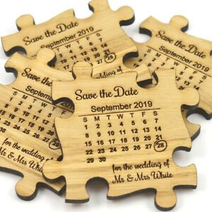 Details about Wedding Save The Date Magnets - Rustic Wooden Jigsaw Puzzle  Piece With Calendar