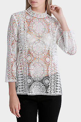 NEW Piper Elbow Sleeve All Over Lace Top Cream