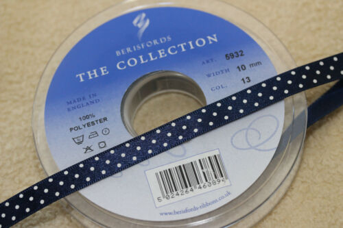 2 Metres Berisfords Satin Polka Dot Spotty Ribbon 10mm Various Colours 2m