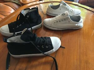 Girls black M\u0026S high top sneakers and