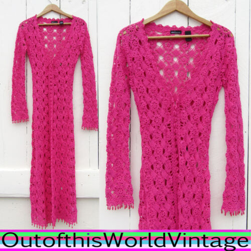 Victoria's Secret Pink Crochet Sweater Boho Beaded Fringe Moda International S by Moda International
