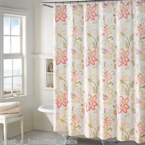 Image Is Loading Soft Spring Floral Fabric Shower Curtain French Country
