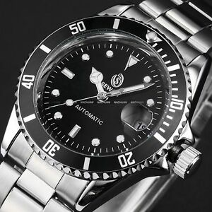 Luxury-Automatic-Auto-Mechanical-Date-Stainless-Steel-Black-Mens-Wrist-Watch