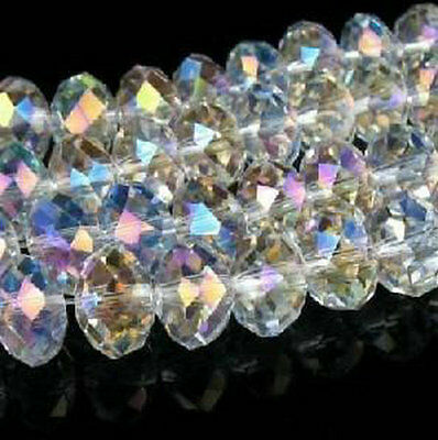 205PC 6x8mm White AB SWAROVSKI Crystal Faceted Loose Bead