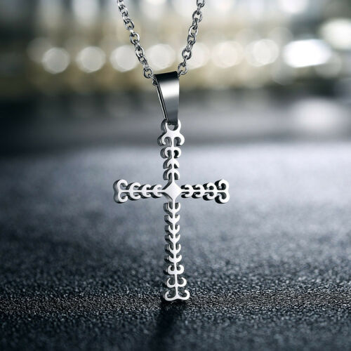 Men Women Simple Stainless Steel Silver Gold Cross Pendant Necklace Chain