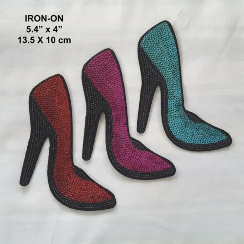 High Heeled Lady Shoes Sequins Embroidered Patch Tshirt Hot Pink