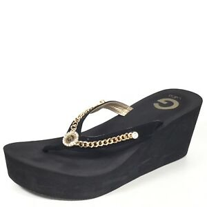 34e4ca8e8 Details about Guess By Guess Statuz Womens Size 9.5 M Black Wedge Flip Flop  Sandals.