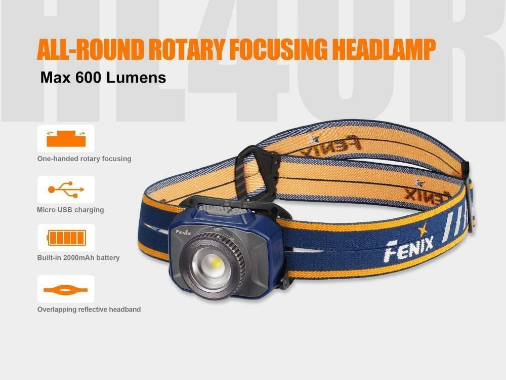 Fenix HL40R 600 Lumen Focusable (Blau) Spot/Flood Rechargeable LED Headlamp (Blau) Focusable 41b1dd