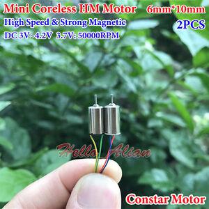 2PCS 7mm*16mm DC3.7V 50000RPM Ultrahigh High Speed Micro Mini Coreless DC Motor