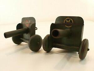 Jg France Canon Ancien Lot De 2 Jouet En Métal Tintoy Gun Rare 12 Cm