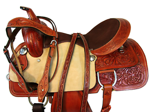 15  16  SILLA CABALLO WESTERN VAQUERA PIEL CUERO LEATHER WESTERN HORSE SADDLE
