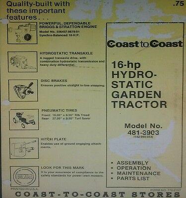 MTD 990 Coast To Coast 16hp Hydrostatic Lawn Garden Tractor Owner Parts Manual EBay