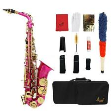 LADE Rose Red Brass Engraved Eb E-Flat Alto Saxophone Sax w、Case+Care Kit V6M9