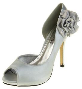 Frugal Womens Bridal Heels Ladies Satin High Heel Wedding Shoes Silver Size 3 4 5 6 7 8
