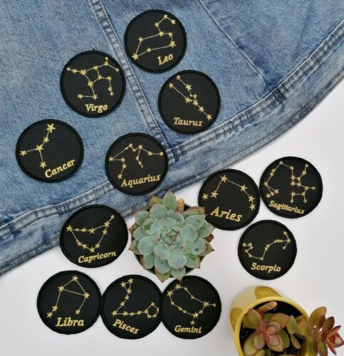Horoscope Zodiac Star Sign cosmic glitter star Iron On Embroidery Patch