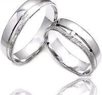 2 Weiß Gold 333 Trauringe Eheringe Verlobungsringe + DIAMANT + Gravur +Etui AO53