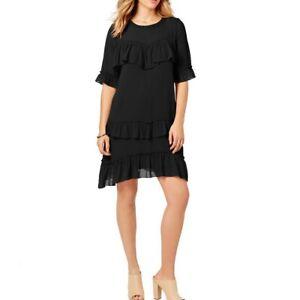 KENSIE-NEW-Women-039-s-Black-Ruffled-Chiffon-Fit-amp-Flare-Dress-TEDO