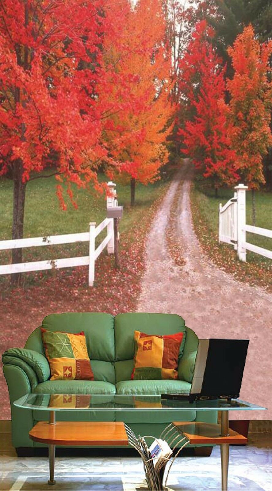 3D Leaves the path 253 Wall Paper Wall Print Decal Wall Indoor Murals Wall US