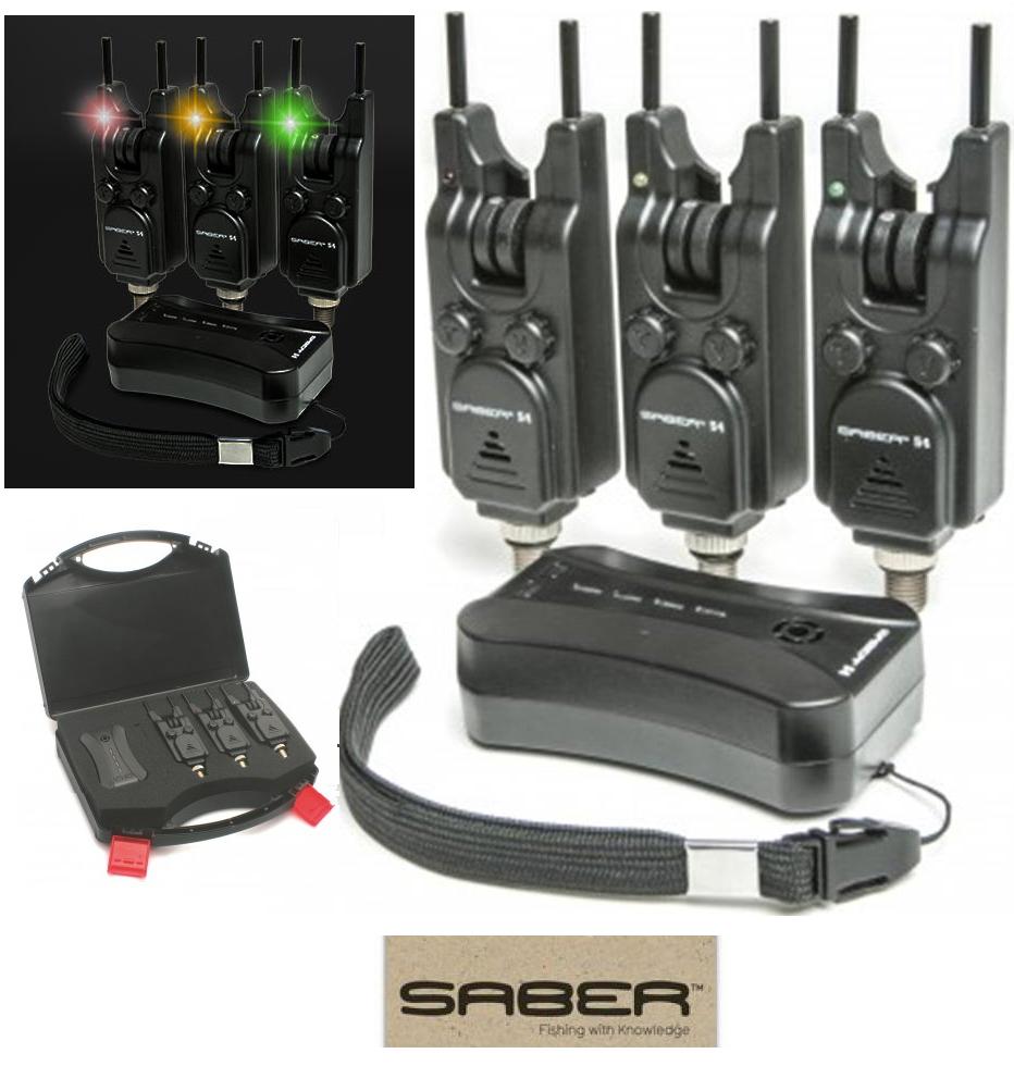 SABER S4 Wireless Bite Alarm Set Con Intoppo Barre Cardine carpa Allarmi E Ricevitore