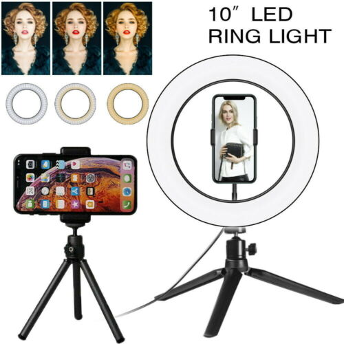 LED Ring Light Dimmable Lighting Phone Selfie Tripod Stand Lamp Desk Top 10in UK