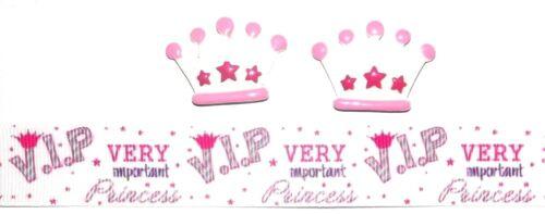 VIP PRINCESS CROWN Hair Bow Supplies Set 2 yd Ribbon and 2 Flatback Resin SALE