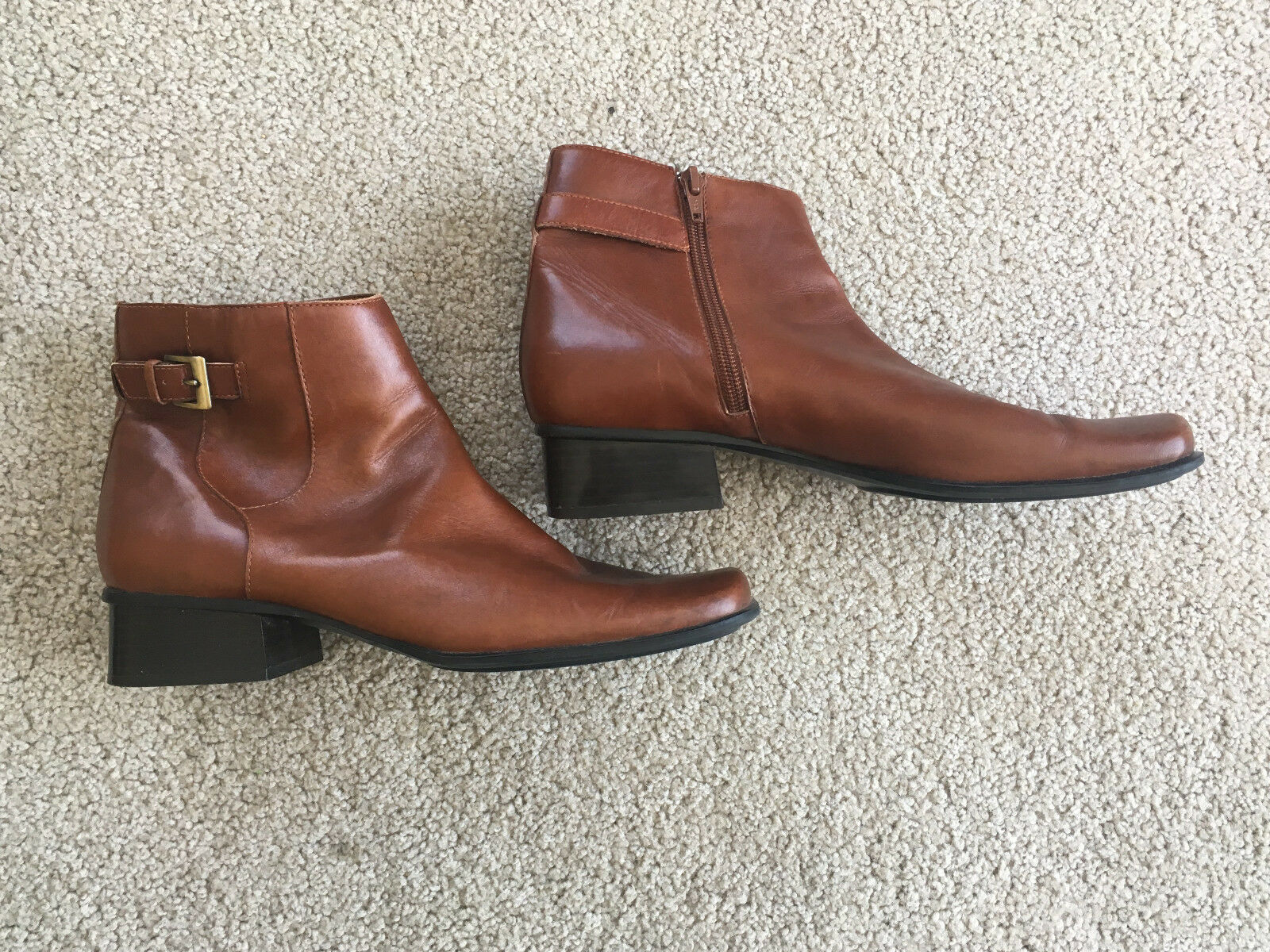 """Village """"Marinette"""" Brown Leather Square Toe Ankle Boots 8.5M Wood Stacked HEEL"""