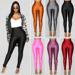 Womens-High-Waist-Fitness-Leggings-Gym-Workout-Push-Up-Trousers-Solid-Yoga-Pants