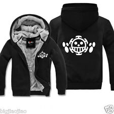 Anime One Piece Trafalgar Law Cosplay Thermal Hoodies Sweats Jacket Coat Tops