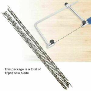 12pcs Carbon Steel Scroll Saw Blades With Spiral Teeth Wood Cutting Tools AU
