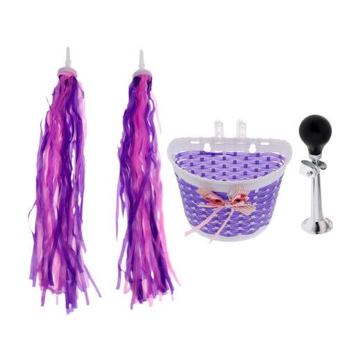 Girl Bike Basket Pink Purple with Squeeze Air Horn Hooter Handlebar Streamer