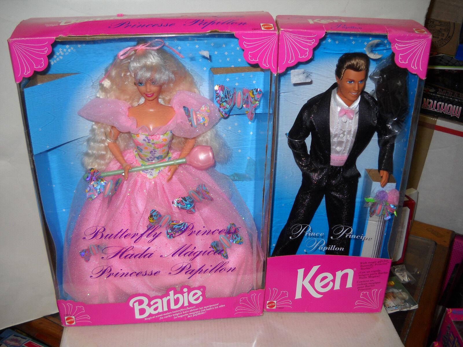 Nunca quitado de la Caja Mattel Mariposa Princesa Barbie Y Príncipe Ken extranjeros emitido muñecas