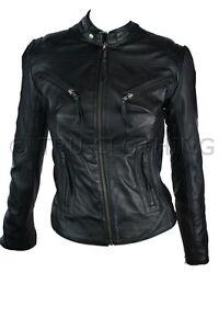 Veste Femmes Véritable Motard 100 Rock Style Ebay Noir Cuir Ajusté 11x6ACwqnr