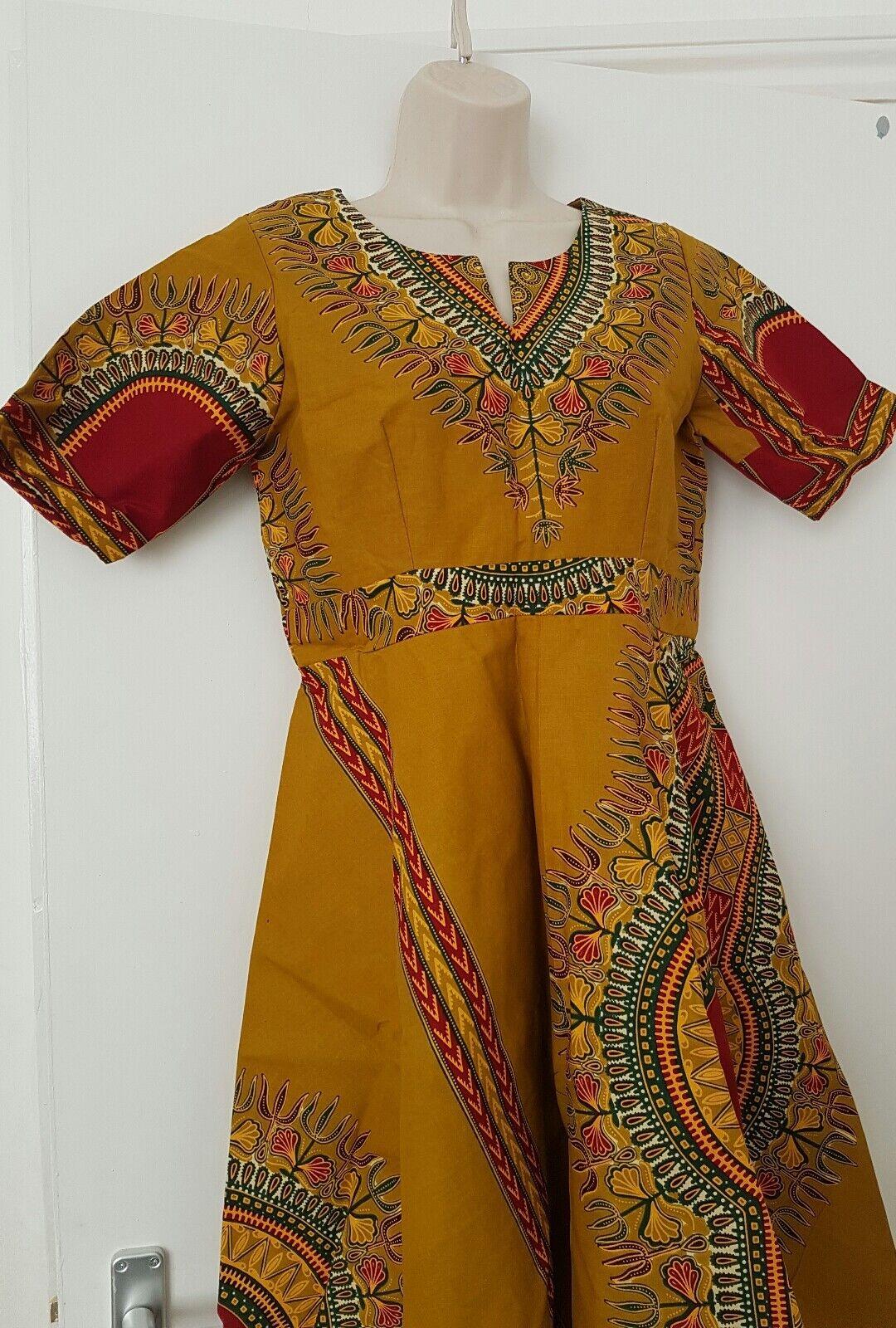 Dashiki Cotone Stampa Tribale Abito Taglia M; GRATIS GRATIS GRATIS UK P & P a20309