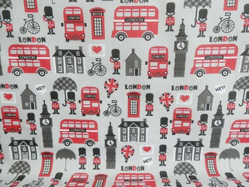 GREY LONDON City Sights SEWING Offcut Remnant 75 cm x 100 cm Polycotton Fabric