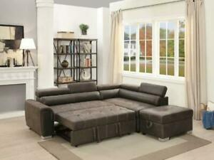Pre-Order Pull-Out Bed Sectional With Matching Ottoman ONLY $1299!! @ Real Buy Furniture Saskatoon Saskatchewan Preview
