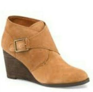 Lucky-Brand-7-5-Sumarah-Suede-Wedge-Ankle-Bootie-Brown-Tan-Excellent