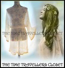 TOPSHOP CREAM LACE CROCHET KNIT BOHEMIAN 70s VINTAGE KIMONO SLEEVE DRESS UK 8