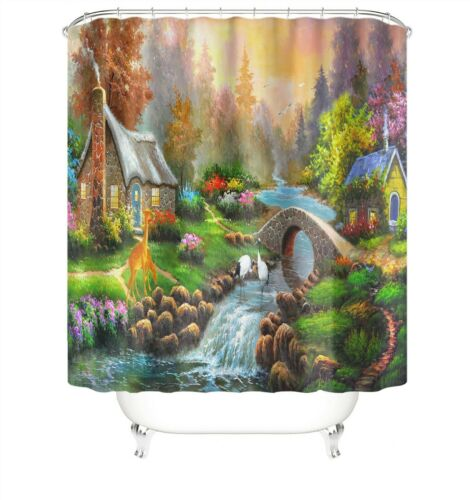 Scenery Shower Curtain Set Thick Bathroom Rug Bath Mat Non-Slip Toilet Lid Cover