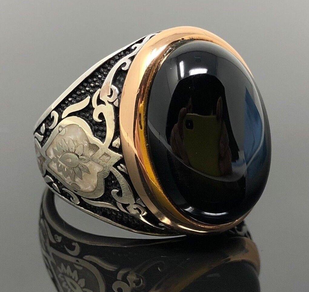 925k argentoo argentoo argentoo Sterling Onice Nera Madreperla Smaltato Uomo 804fd6
