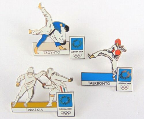 Athens Olympic Games 2004 Pin Badges 3 x mixed lot Contact sports fencing