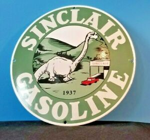 VINTAGE-SINCLAIR-GASOLINE-PORCELAIN-GAS-MOTOR-OIL-SERVICE-DINOSAUR-SIGN