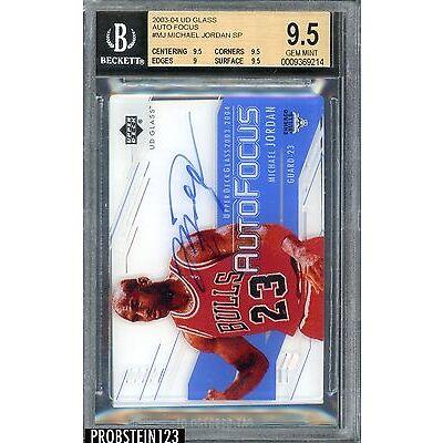 2003-04 UD Glass AutoFocus #MJ Michael Jordan Bulls HOF AUTO SP BGS 9.5