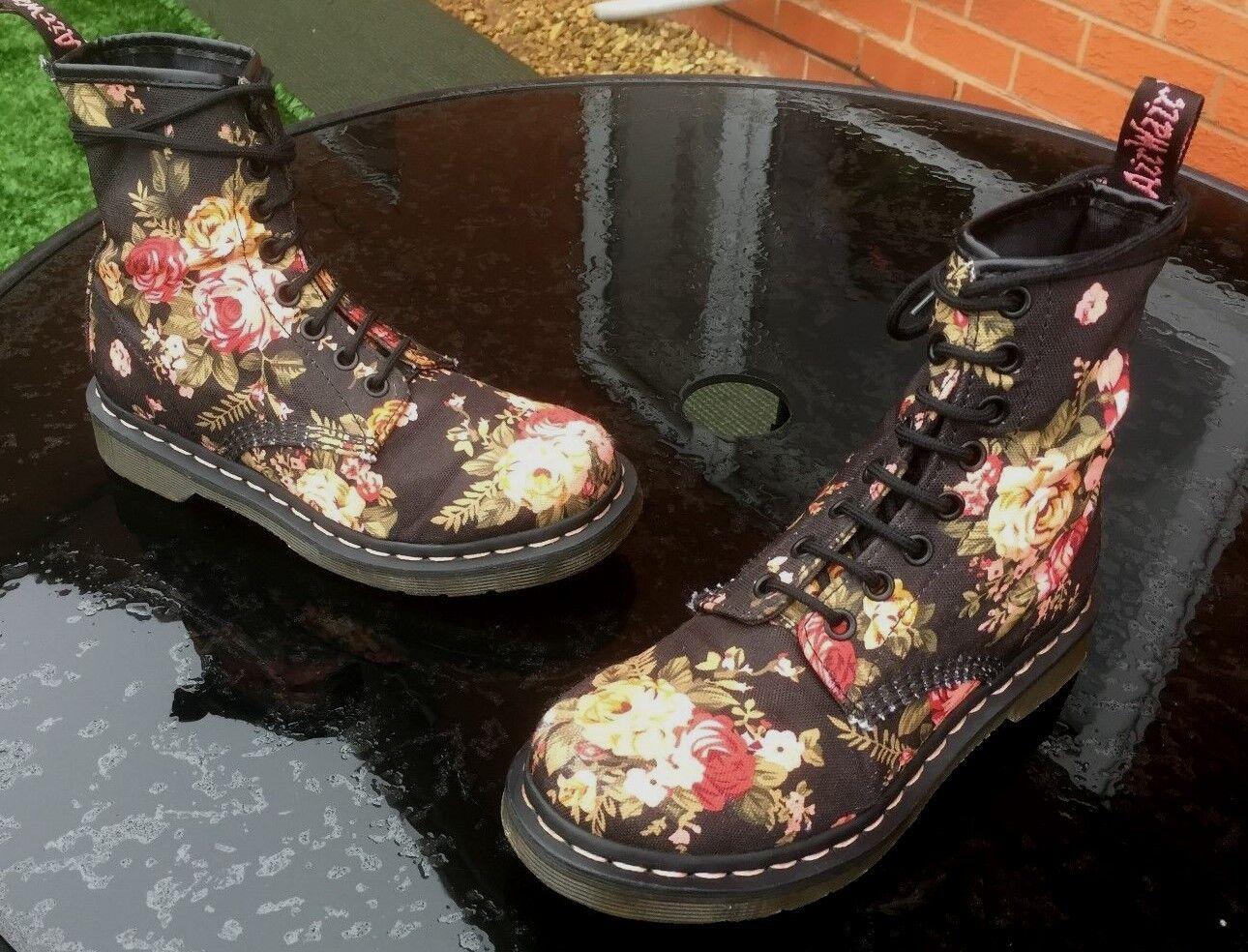 Dr Martens 1460 3 schwarz victorian flowers canvas Stiefel UK 3 1460 EU 36 163496